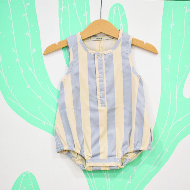 STRIPES ONEPIECE STONELIGHT CERULEAN BLUE - Tiny Cottons
